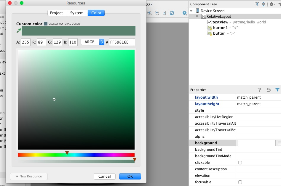 android studio how to change the background color in java