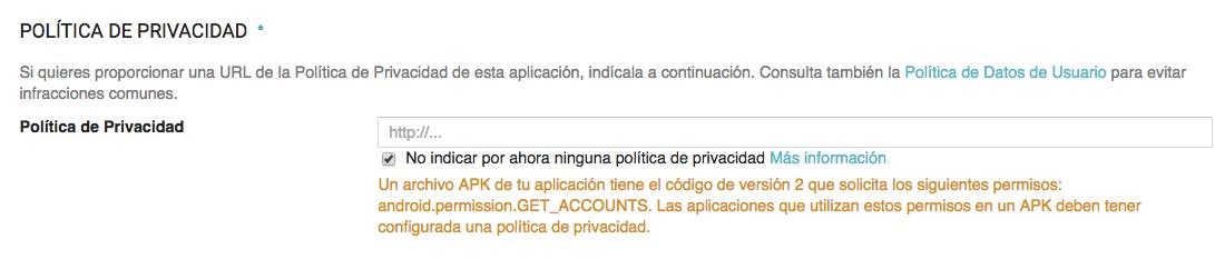 politica de privacidad para android.permission.GET_ACCOUNTS