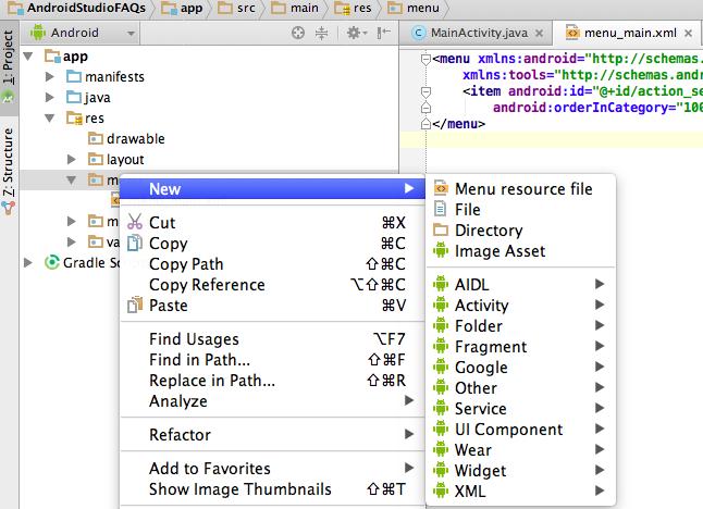 Crear menu desplegable en android studio