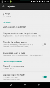 Activar depuración por Bluetooth en Android Wear movil