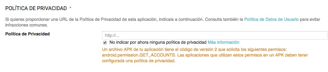 politica de privacidad para android.permission.GET_ACCOUNTS
